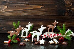 Обои праздник, новый год, рождество, печенье, шоколад, глазурь