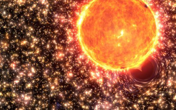 Фото бесплатно солнце, черная дыра, поглощает