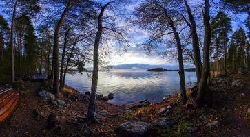Бесплатные фото Финляндия,закат,озеро,берег,лодка,деревья,пейзаж