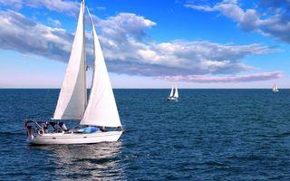Бесплатные фото яхты, паруса, белые, море, горизонт, небо, облака