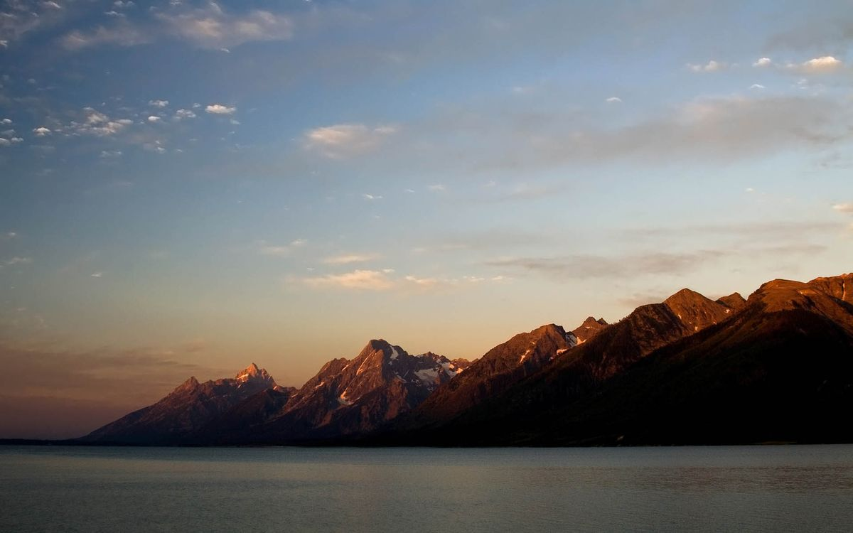 Фото бесплатно море, побережье, горы, снег, небо, облака, природа