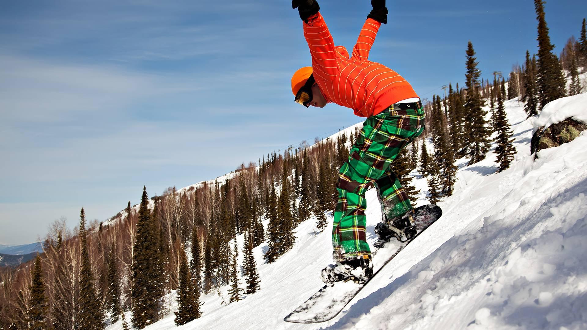 зима, сноубордист, доска