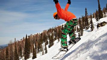 Бесплатные фото зима,сноубордист,доска,снег,деревья,горы