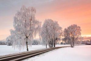 Фото бесплатно закат, зима, дорога