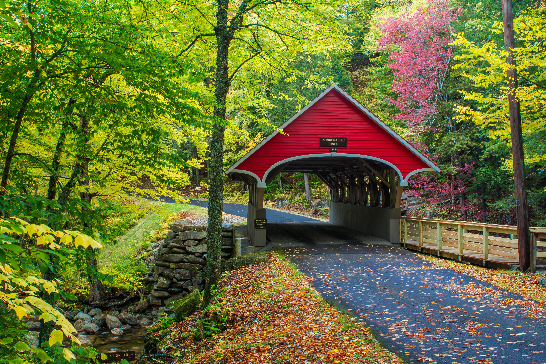 обои Нью-Гемпшир, Англия, дорога, осень картинки фото