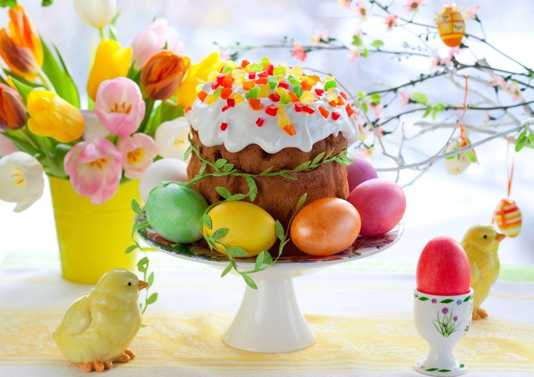 Фото бесплатно пасха, кулич, яйца - на рабочий стол