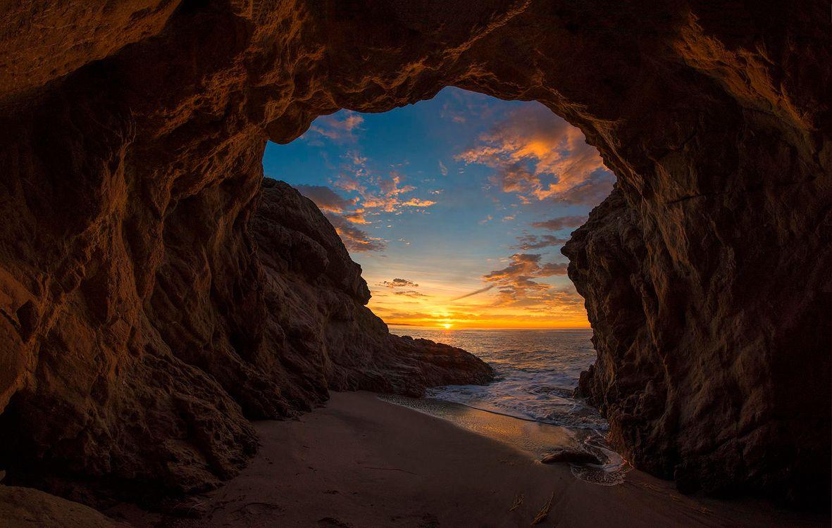 Фото бесплатно пещеры, скалы, закат - на рабочий стол