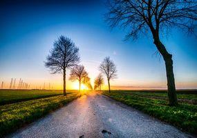 Заставки закат, поле, дорога
