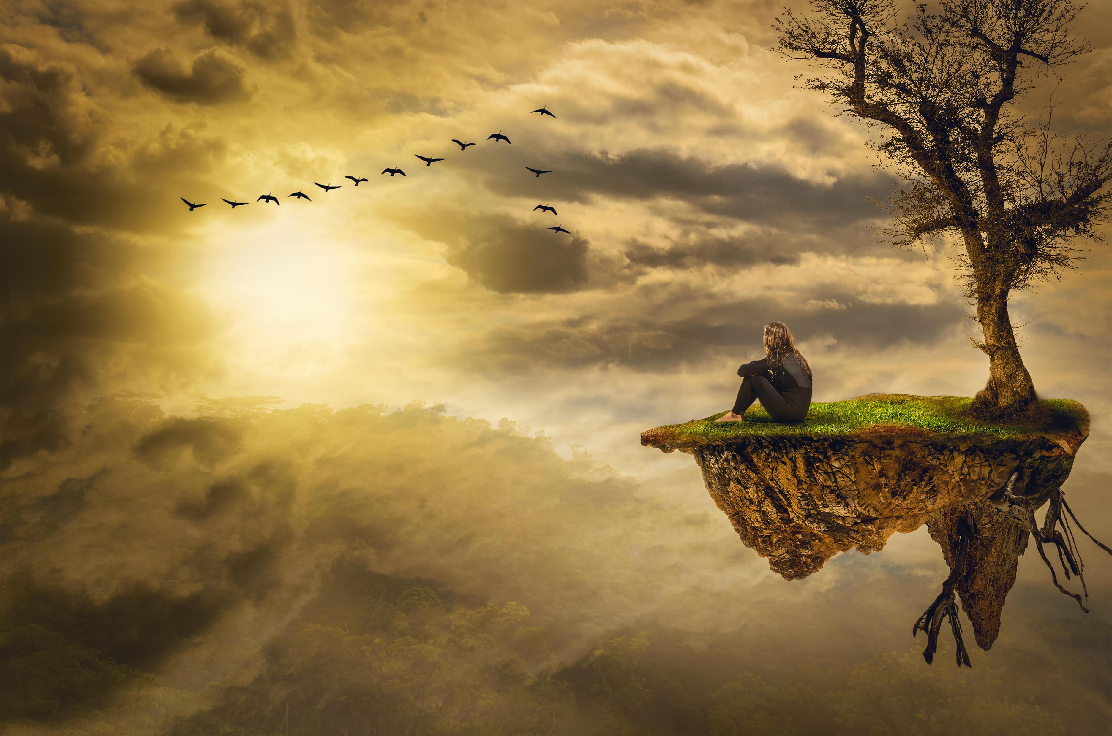 Обои закат, небо, стая птиц, остров