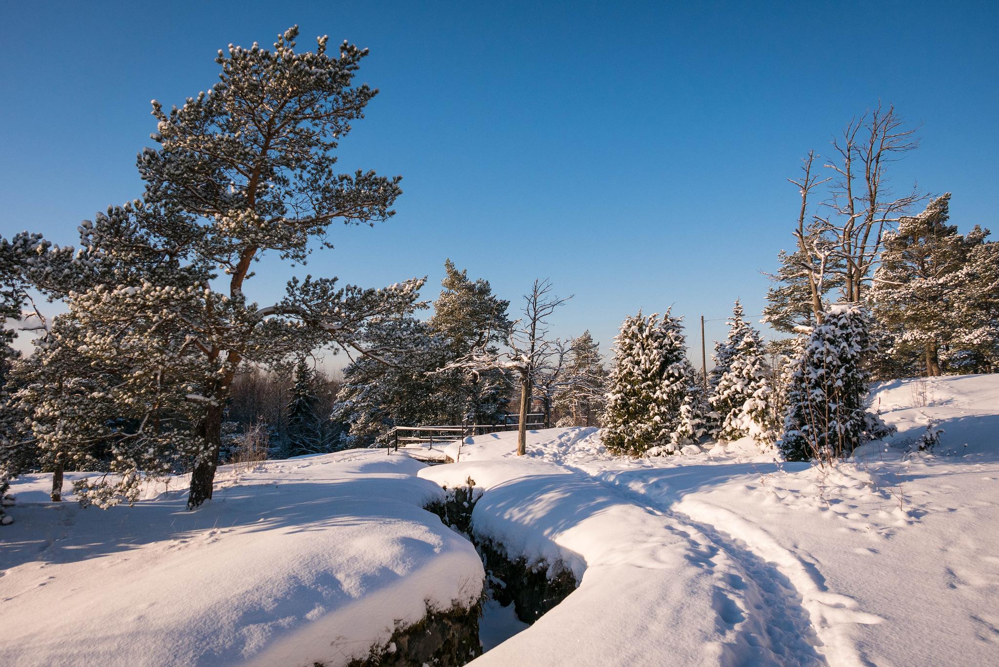 зима, речка, ручей