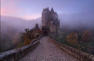 Бесплатные фото Крепость Эльц, замок, Рейнланд-Пфальц, Германия, закат, пейзаж