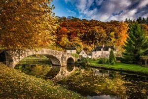 Бесплатные фото Бретань,Франция,Динан,осень,река,мост,дома
