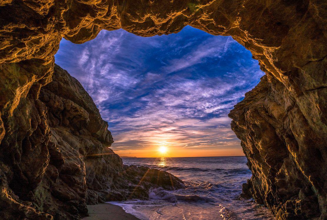 Фото бесплатно Malibu, закат, море, волны, берег, скалы, арка, пейзаж, пейзажи