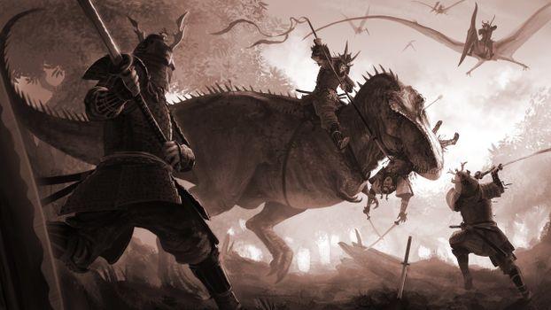 Бесплатные фото динозавры,воины,доспехи,мечи,бой,рисунок
