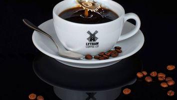 Фото бесплатно КОФЕ, чашка, зерна, ложка