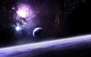 Заставки космос, вселенная, планеты, звёзды, созвездия, свечение, невесомость