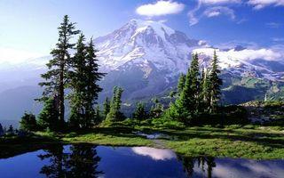 Бесплатные фото река,берег,трава,деревья,горы,снег,небо