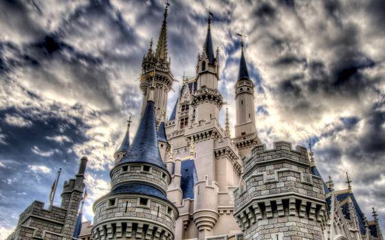 замок, башни, флюгера, кладка, камень