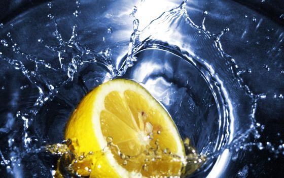 Фото бесплатно вода, лимон, всплеск
