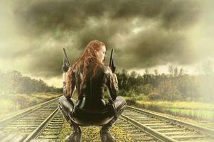 Бесплатные фото железная дорога,девушка,воин