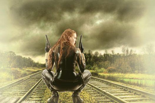 Фото бесплатно железная дорога, девушка, воин