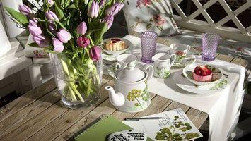 Фото бесплатно букет, тюльпаны, завтрак