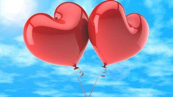 Фото бесплатно два сердечка, воздушные шары, шарики, ввиде сердца, день влюбленных, подарки