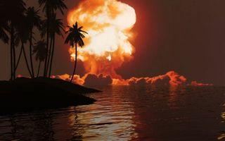 Бесплатные фото ночь,море,остров,пальмы,ядерный взрыв,гриб