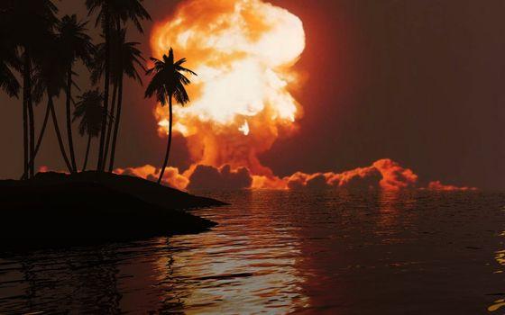 Фото бесплатно остров, пальмы, ядерный взрыв