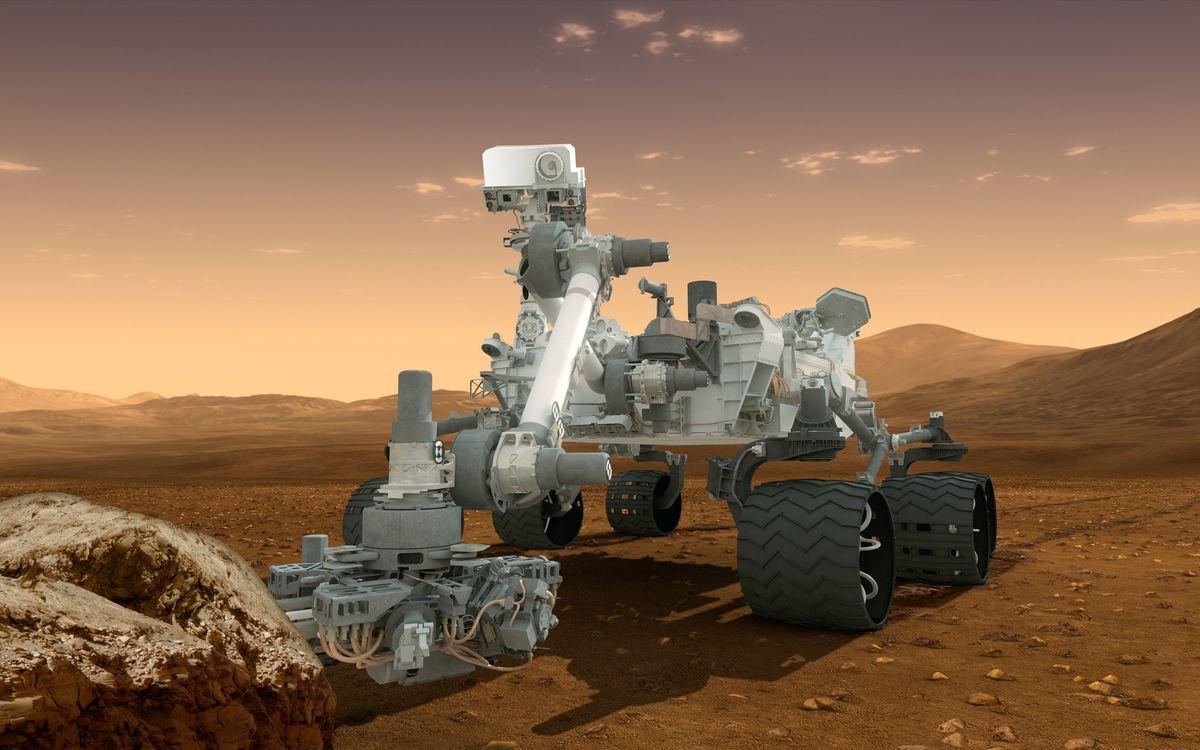 Фото бесплатно планета, поверхность, марсоход - на рабочий стол