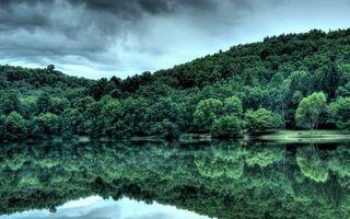 Фото бесплатно озеро, гладь, отражение, берег, холмы, деревья, небо