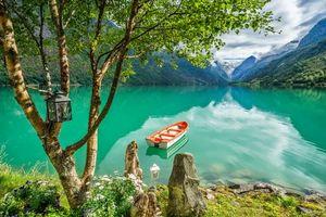 Бесплатные фото озеро,горы,лодка,дерево,фонарь,Норвегия,пейзаж