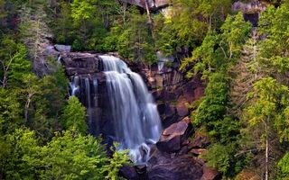 Бесплатные фото река, водопад, обрыв, камни, растительность, природа