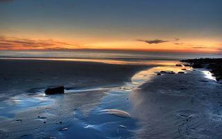 Фото бесплатно вечер, берег, песок, камни, море, горизонт, небо, закат