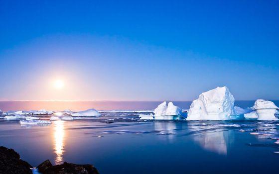 Бесплатные фото Арктика,океан,солнце,айсберги,льдины