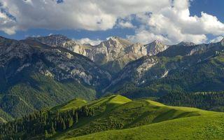 Бесплатные фото горы,вершины,скалы,деревья,трава,небо,облака