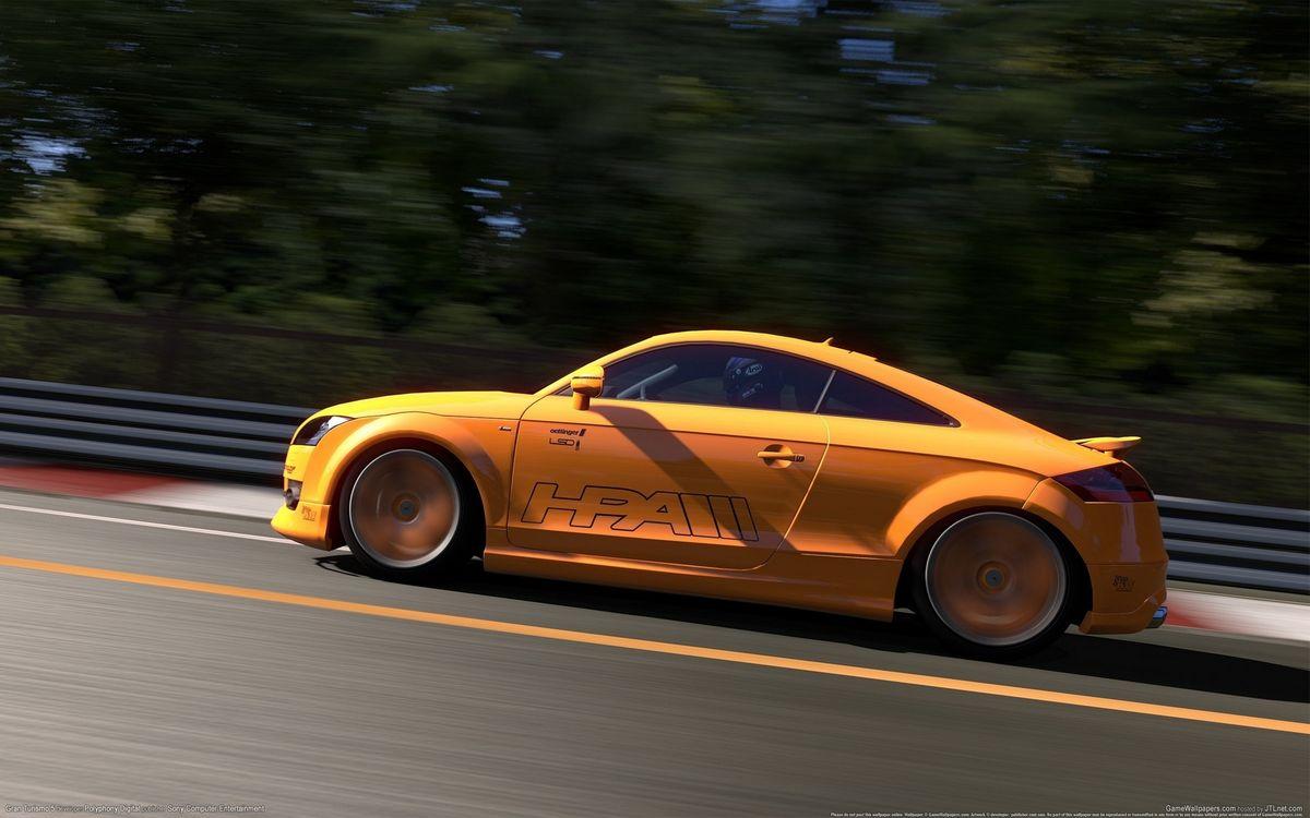 Фото бесплатно ауди, желтая, спойлер, диски, дорога, скорость, машины