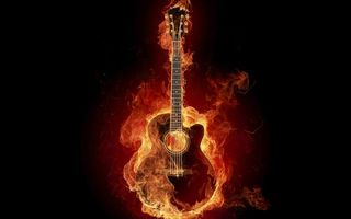 Заставки гитара, акустическая, гриф, струны, огонь, пламя, фон
