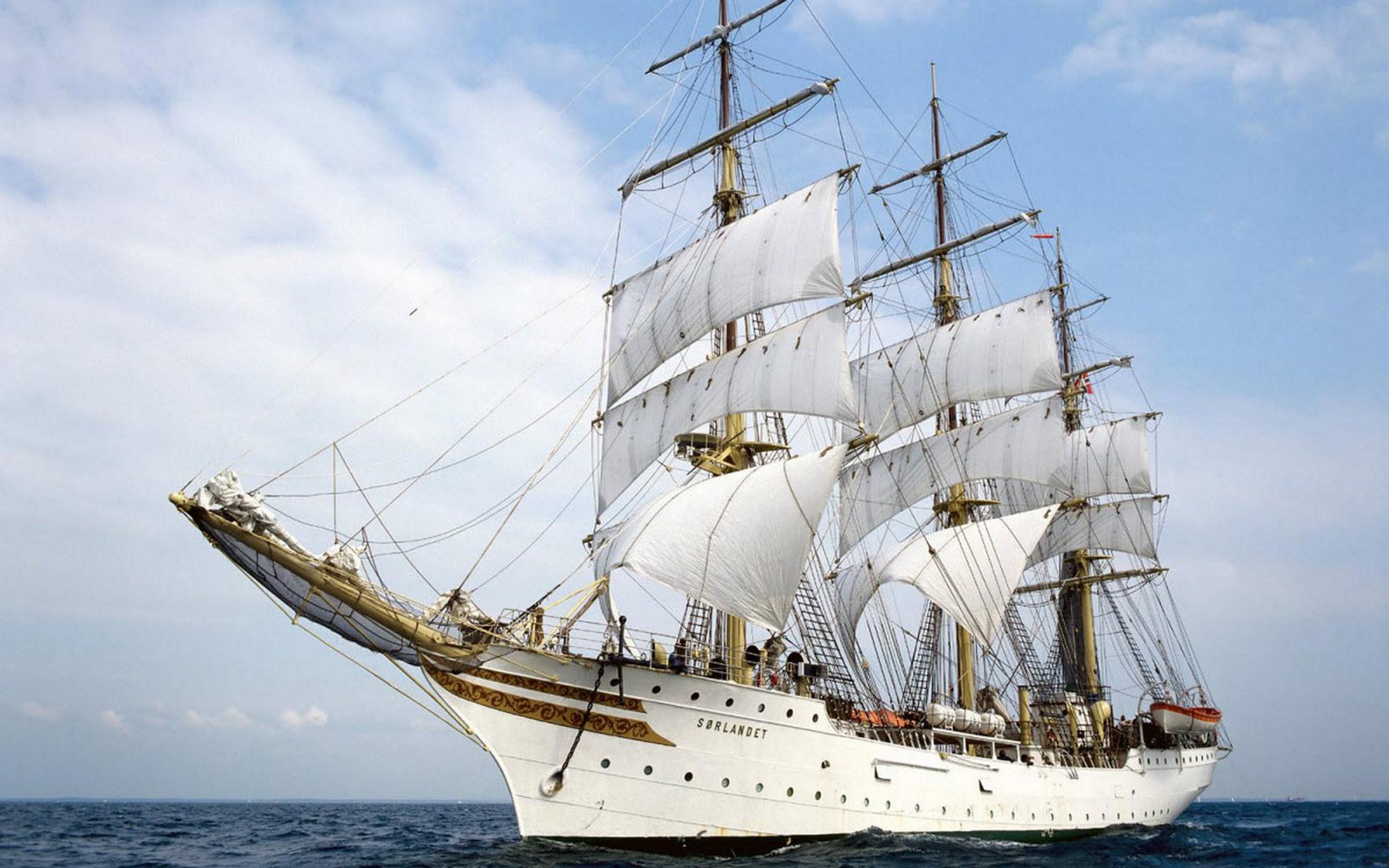 корабль, парусник, мачты