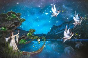 Бесплатные фото angels,ночь,фея,ангелы,фантастика