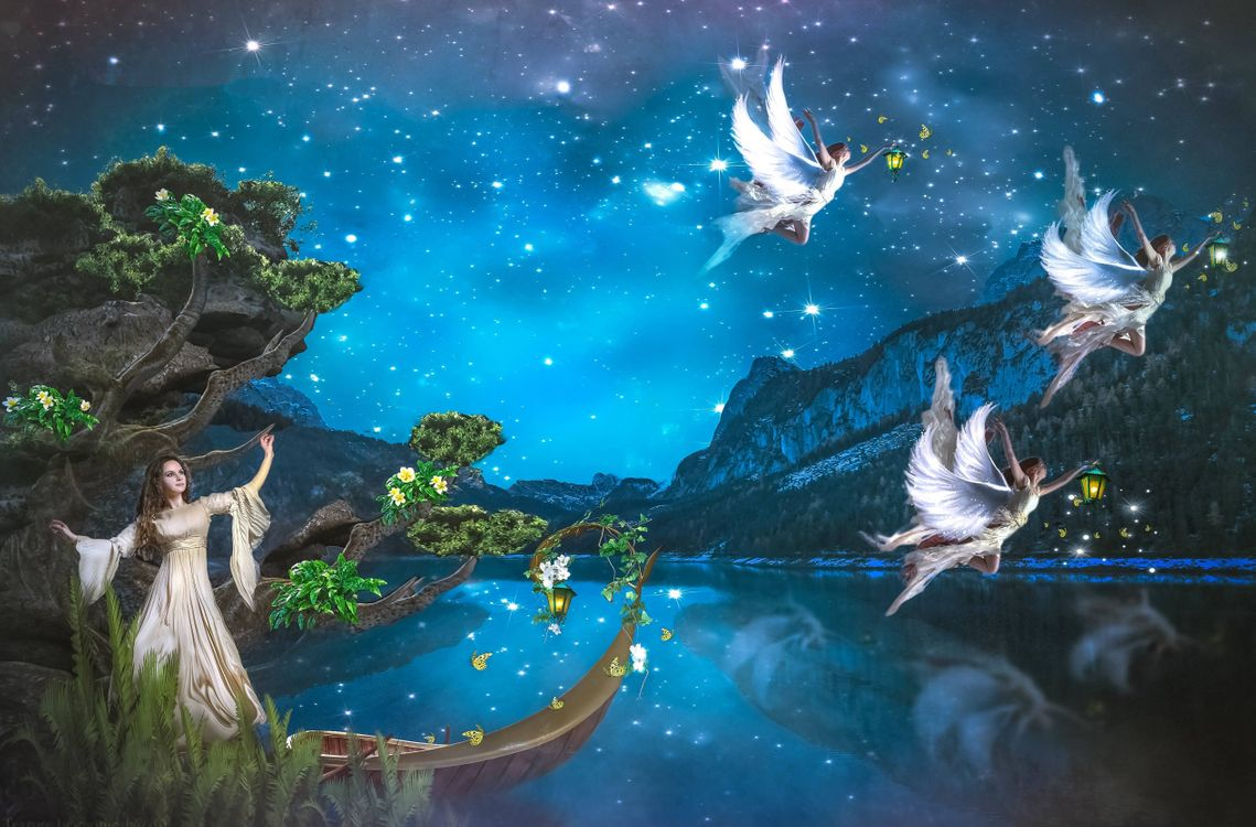 Обои angels, ночь, фея, ангелы, фантастика на телефон | картинки фантастика