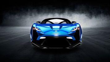 Фото бесплатно спорткар, концепт, синий, фары, свет, зеркала