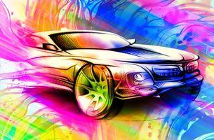 Заставки автомобиль, рисунок, разноцветная