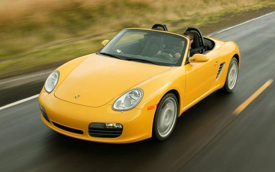 Фото бесплатно порше, кабриолет, желтый