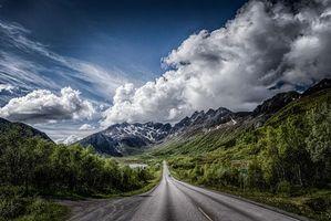Заставки Kalle, Lofoten, Norway, горы, дорога, деревья, пейзаж