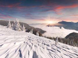 Заставки зима, снег, деревья, горы, пейзаж