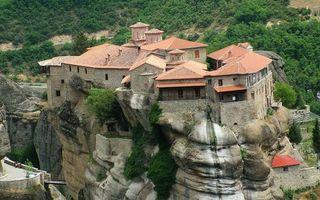 Фото бесплатно горы, скала, камни, дом, вилла, растительность