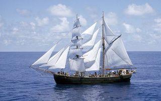 Бесплатные фото море,корабль,паруса,мачты,команда,небо