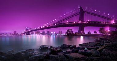 Нью-Йорк, Манхэттенский Мост, ночь, огни, New York