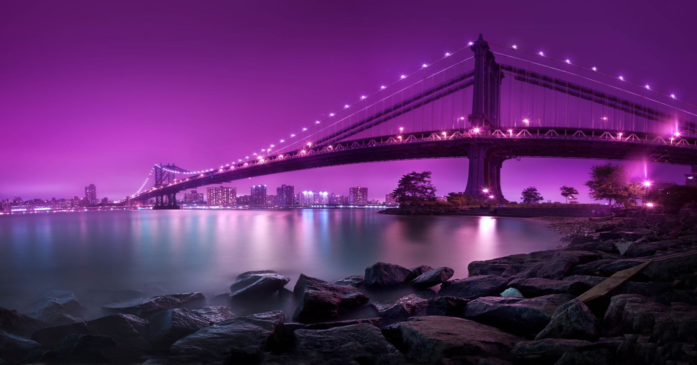 Фото бесплатно Нью-Йорк, Манхэттенский Мост, ночь, огни, New York, New York City, Manhattan Bridge, панорама, город
